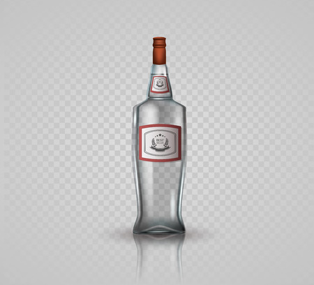 distill: Glass vodka bottle with screw cap. Illustration