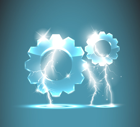 glass gear icon with realistic lightnings