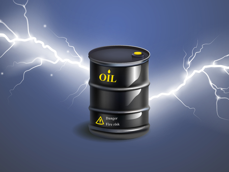 Vector realistic black metal oil barrel with lightnings