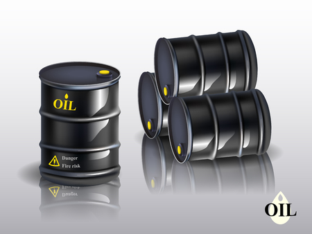 Oil barrels on a white background. vector