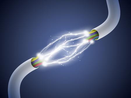 Electronisch circuit. Elektrische boog tussen de draden. vector illustratie.