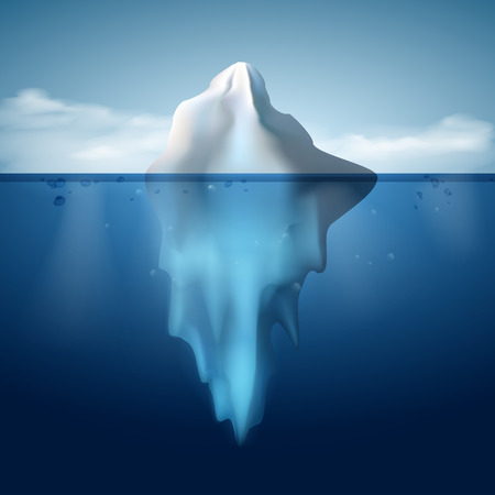 tip of iceberg: Ice berg on water concept vector background. Vector illustration.