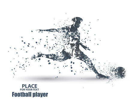Football player, kick a ball, particle divergent composition, vector illustration Illustration