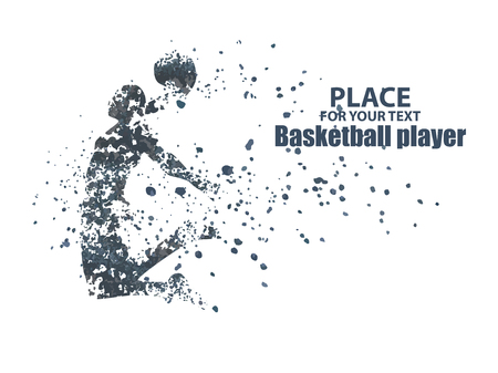 Basketball player, particle divergent composition, vector illustration Illustration