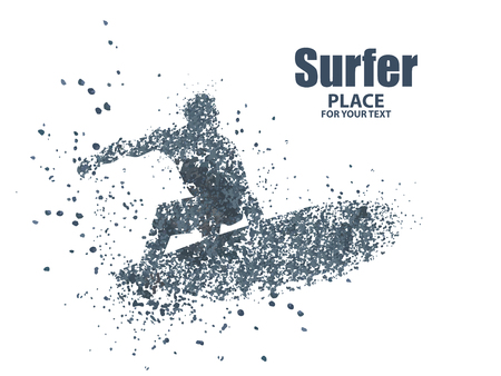 silhouettes of surfers particle divergent composition, vector illustration. Illustration