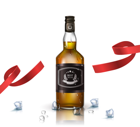 Bottle of brandy, bourbon, whiskey, cognac with red ribbon, isolated on white. Poster or brochure template.