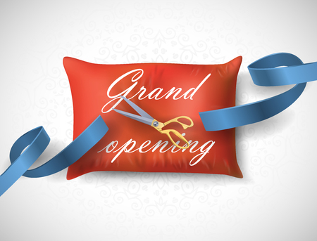 Grand opening card with blue ribbon, scissors on the pillow. Vector illustration Illustration