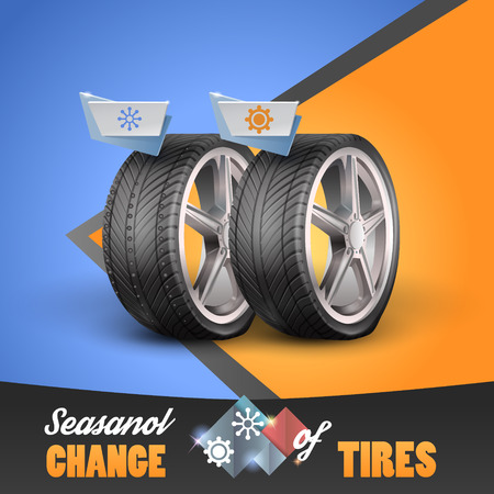 Replacement tires for the sesanol specified on label wheel. Vector illustration Illustration