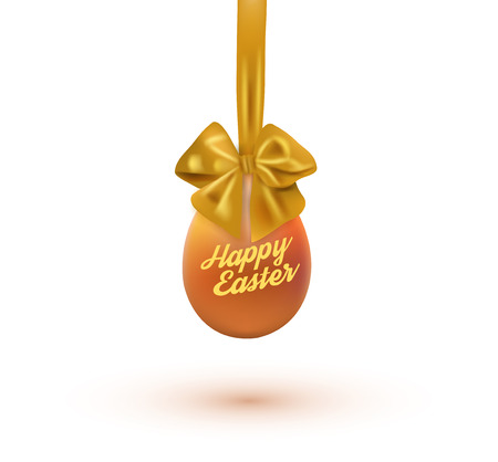 Happy easter card with eggs and bow. Vector illustration. Illustration