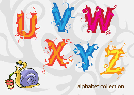 assemblage: alphabet with Mr. Snail. vector illustration