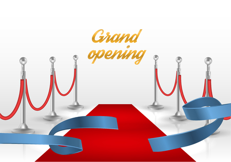celebrities: White backgraund with red carpet and blue ribbon. vector illustration Illustration