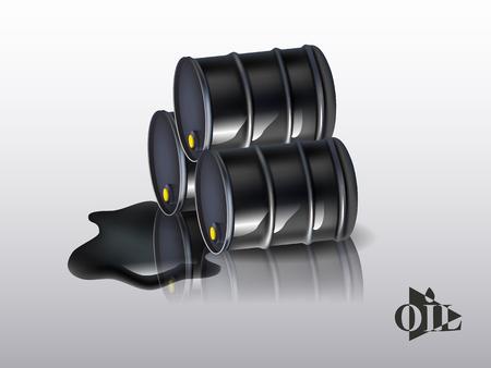 spillage: Oil barrels on a white background. vector