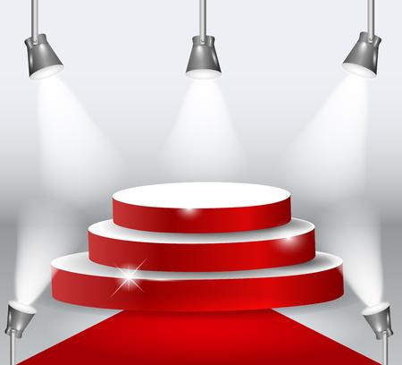 Illuminated Podium With Red Carpet. Vector Illustration.