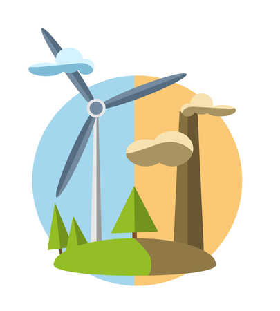 water turbine: concept illustration with icon of green energy