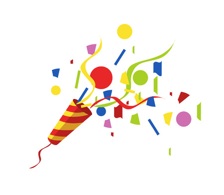 event party: exploding party popper with serpantin and serpantinom on white background . vector Illustration