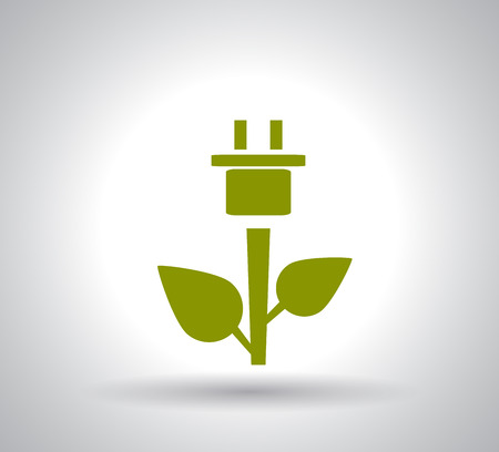 Green Plug Power Consumption on white background