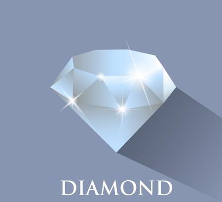 Diamond. Vector design with long shadow Ilustração