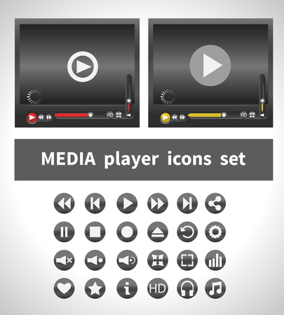 pause button: Media players on white background