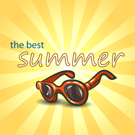 Summer background with sunglasses .  Vector illustration EPS10.
