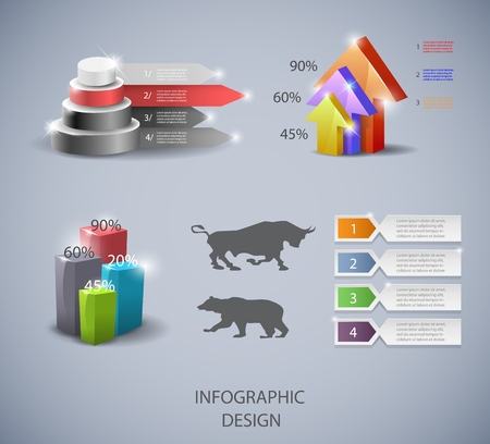 panels: Set of design elements for infographic or presentation Illustration