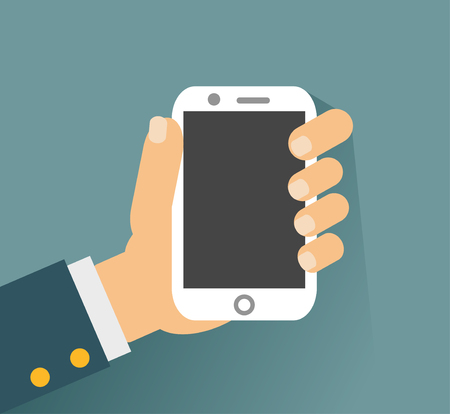 holing: Hand holing white smartphone, touching blank screen. Using mobile smart phone similar to iphon, flat design concept. vector illustration Illustration