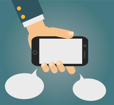 smartphone apps: Vector illustration of smartphone in human hand with two speech bubbles