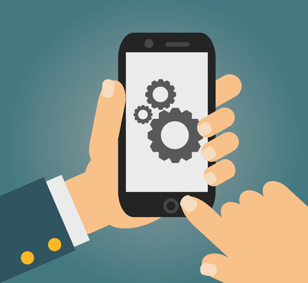 smartphone business: Vector app development concept in flat style - mobile phone and sketch on screen