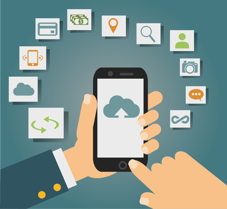 hub computer: Vector concept of cloud services on mobile phone such as storage, computing, search, photo album, data exchange. With colorful icons or web buttons around mobile device. Illustration