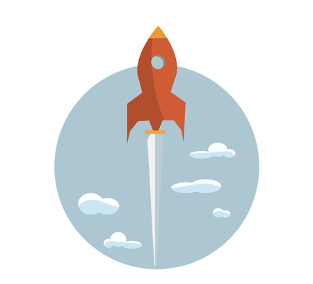 Start up new business project with rocket and clouds image, vector eps10 illustration Çizim