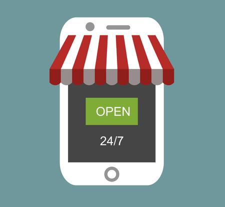 24: Concept of day and night online shop on modern smart phone . Vector illustration EPS10