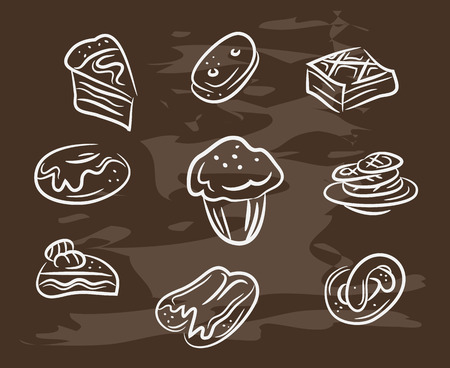 ice tea: Vintage collection of desserts. Sketches of desserts hand-drawn with chalks on blackboard. Vector illustration.