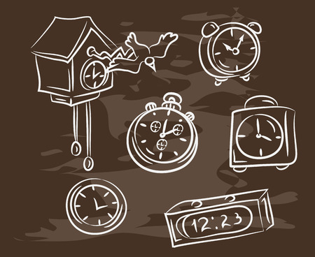 Collection of hand-drawn clock on blackboard. Retro vintage style. Vector illustration EPS10