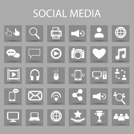Vector flat icons set and graphic design elements. Illustration with social media, digital technology outline symbols. Illustration