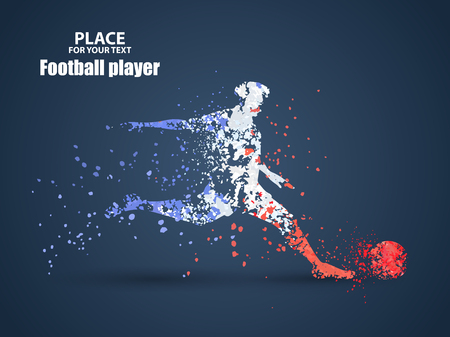 France football championship with player and flag colors., kick a ball, particle divergent composition, vector illustration Illustration