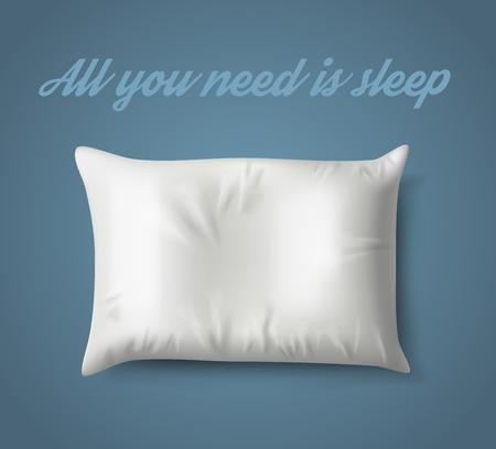 Travesseiro branco sobre fundo azul com sombra real. Ilustração vetorial