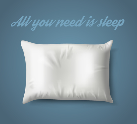 White Pillow on Blue Background with Real Shadow. Vector illustration