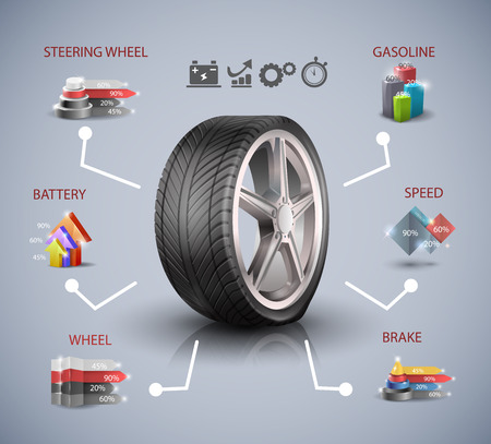 Car wheel, infographic elements, Vector illustration