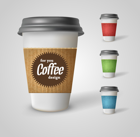 Set of takeaway coffee cups. Illustration on white background. Illustration