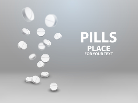 Medical pills falling down. vector illustration Illustration