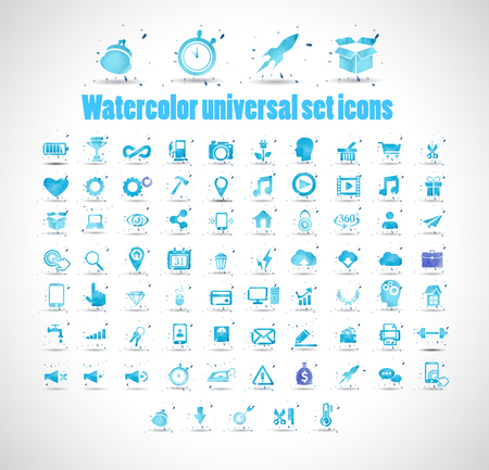 Watercolor universal set icons on white background vector illustration. Illustration