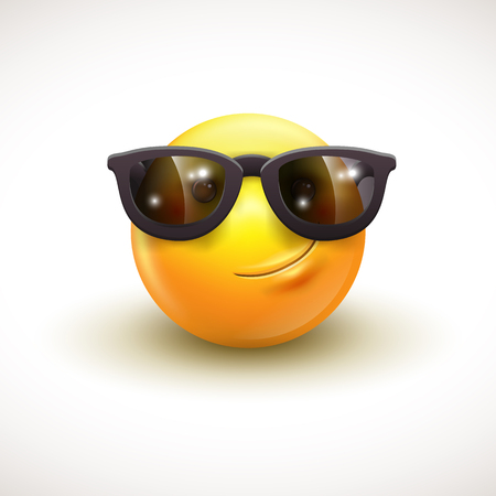 Cute smiling emoticon wearing black sunglasses, emoji, smiley - vector illustration Stock Illustratie