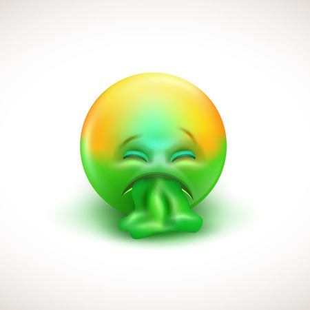 Sick emoticon with tongue out - vector illustration