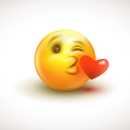 Cute feeling in love emoticon isolated on white background - emoji, smiley - vector illustration EPS10
