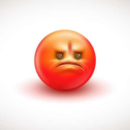 Angry smiling emoticon, emoji - vector illustration EPS10