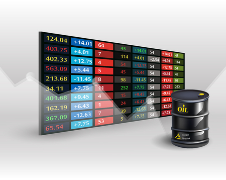 Stock market price display background with Oil barrel. Vector illustration