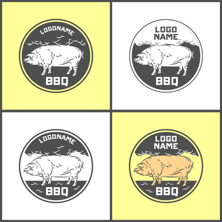 Set of Pig farm fresh pork meat emblems design Illustration.