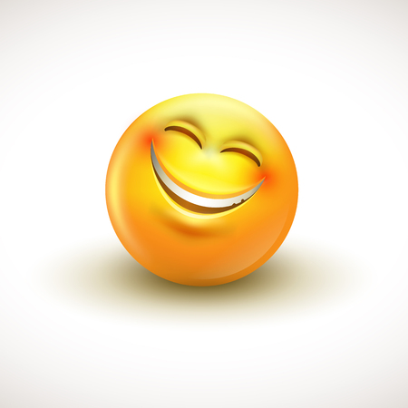 Cute smiling emoticon, emoji, smiley - vector illustration Illustration