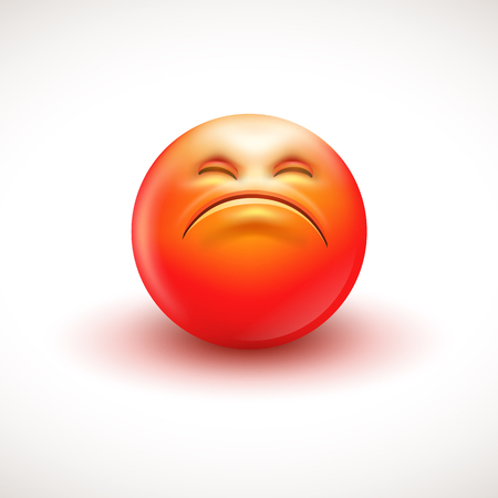 Angry smiling emoticon, emoji - vector illustration