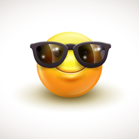 Cute smiling emoticon wearing black sunglasses, emoji, smiley - vector illustration Illustration