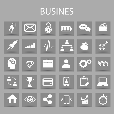 Vector flat icons set and graphic design elements. Illustration with business and management outline symbols. Marketing research, strategy, service, career, mission, analytic linear pictogram